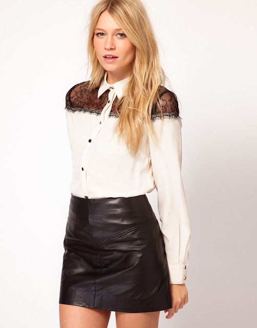 white button up blouse leather skirt explore ejt1977 s