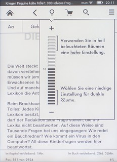 Kindle Paperwhite Helligkeitseinstellung