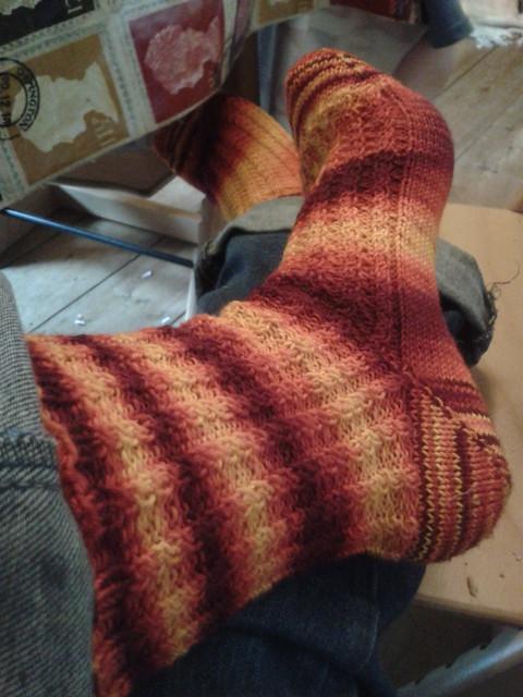 finished feet of flames socks