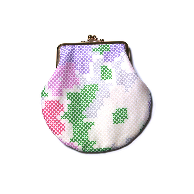 frame pouch - stitched flowers