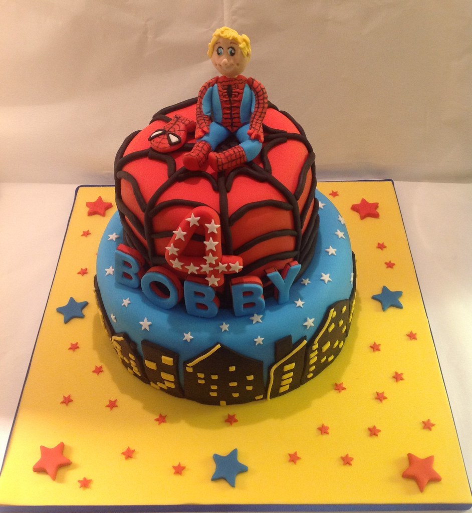 Spiderman Cake 4th Birthday Cake Decoration A Photo On Flickriver