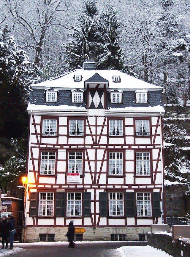 Monschau half timbered house winter