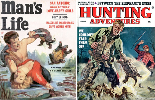 Two examples of men's pulp covers, specifically two men getting attacked by snapping turtles