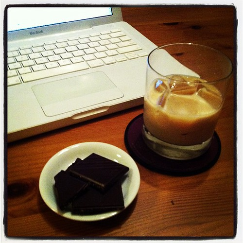 Brown food. Also good for the soul, and helpful when working late. Coconut Lindt & Peppermint Cream Liquor.
