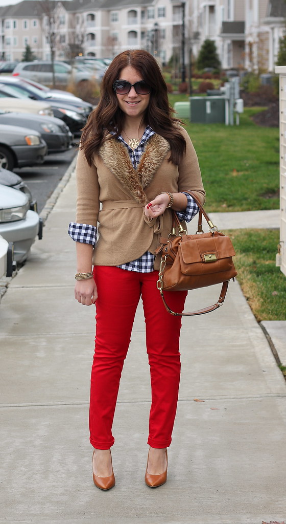 Faux Fur, Red, and Gingham Outfit holiday style