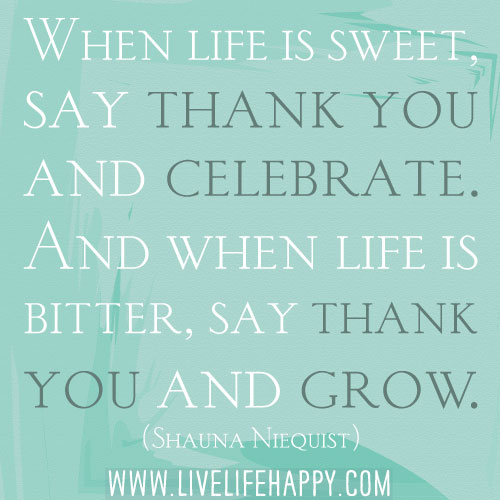 When life is sweet, say thank you and celebrate. And when life is bitter, say thank you and grow. - Shauna Niequist