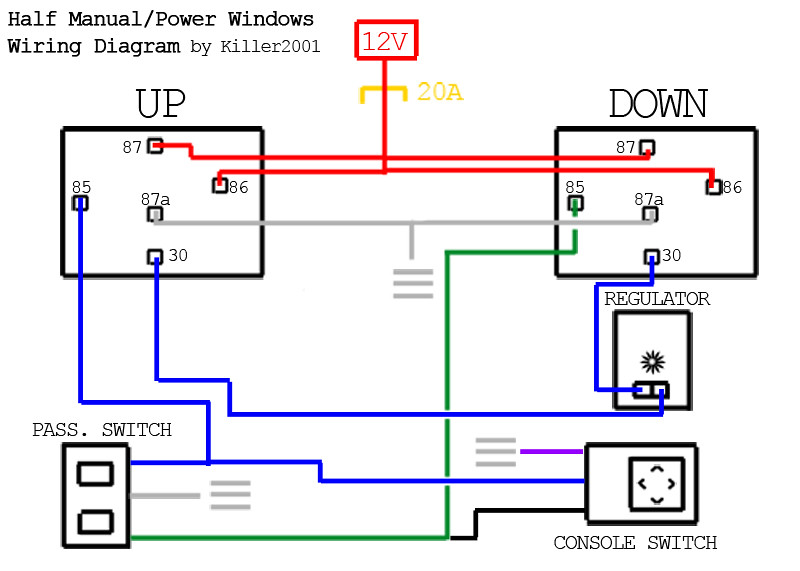 Simple Power Window Wiring Diagram : Nissan pure forums how to half manual power window
