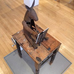 Mule Make Mule by Tim Lewis at show of automata #London #Habitat #Automata - the mule draws itself, results in next image..
