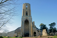 Wymondham Abbey, Norfolk - St Mary and St Thomas of Canterbury (View from the east with ruined east monastic tower and new extensions)