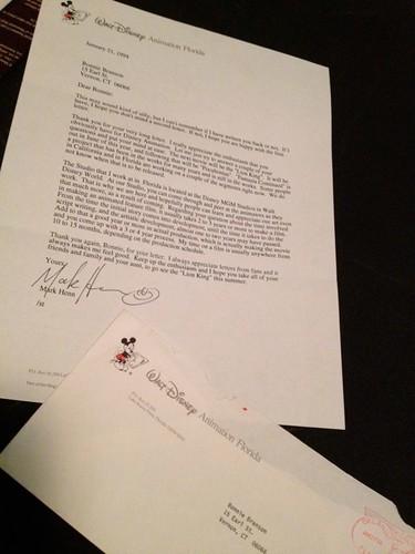Letter from animator Mark Henn