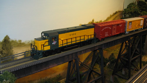 Chicago & Northwestern Railroad local freight train crossing the tall steel trestle. by Eddie from Chicago