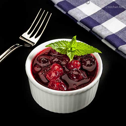 Homemade Cranberry Sauce with Mint Garnish