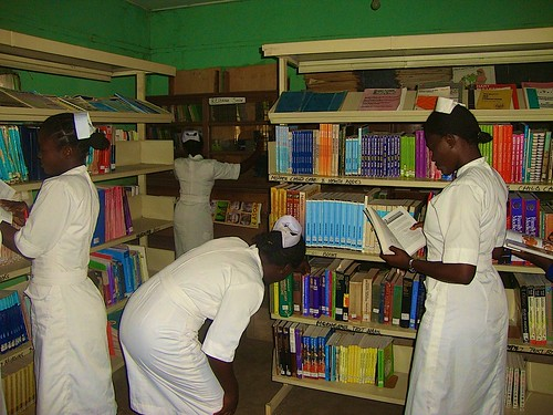 Student midwives in the library of St Louis School of Midwifery, Zonkwa, Kaduna State, Nigeria