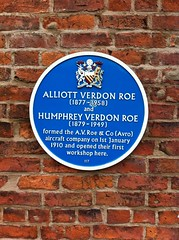 Photo of Alliott Verdon Roe, Humphrey Verdon Roe, and Avro blue plaque