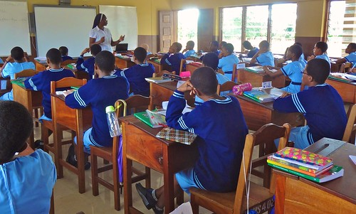 Matilda Adeoboye SSL, Principal, Administrator and teacher, teaching one of the Junior School classes at Louisville High School, Ijebu-Itele, Ogun State, Nigeria