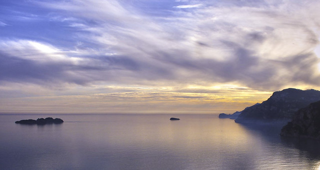 Summer sunset in Amalfi Coast.