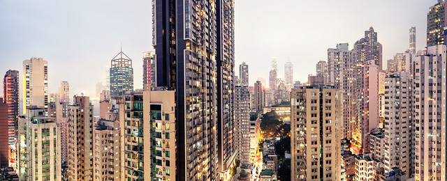 Hong Kong view from Sai Ying Pun rooftop towards Central