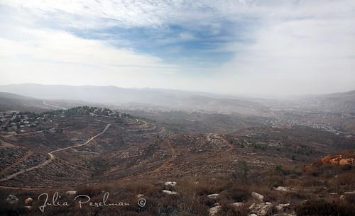 road travel sky grass clouds landscape israel asia village stones hills valley