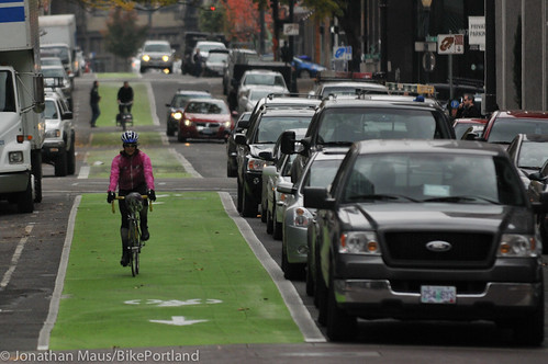Green bike lanes Stark and Oak-4