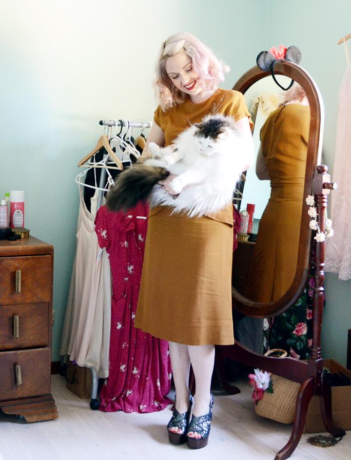 mustard 1940s dress a