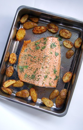 Roasted salmon and potatoes with mustard-herb butter