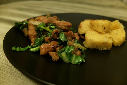 pok choi and seitan stirfy with polenta on the side