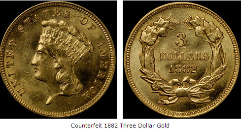 Counterfeit Three Dollar Gold