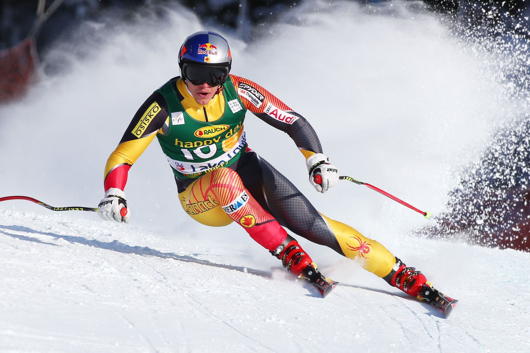 Erik Guay in action during World Cup super-G in Lake Louise.