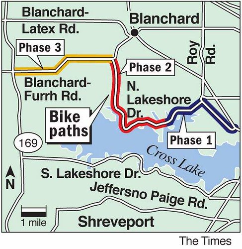 Caddo Parish bike and pedestrian trail map; new route on N. Lakeshore Dr. by trudeau