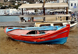 Immagine di Megali Ammos Beach (Μεγάλη Άμμος) Megali Ammos. beach boat greece mykonos afsdxnikkor1855mmf3556gvr iamnikon d3100 nikond3100