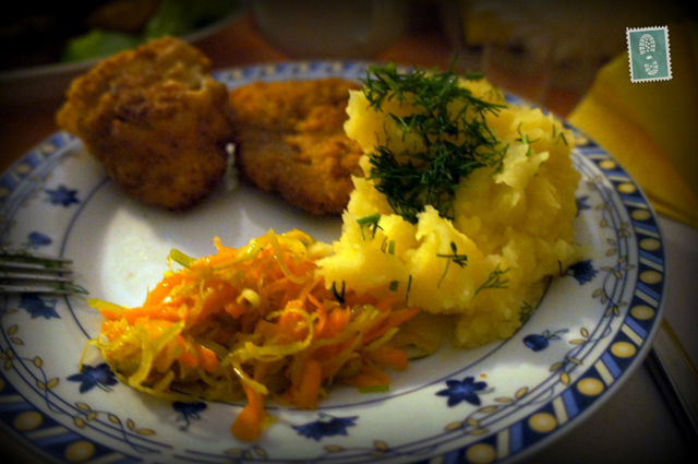 Kotlet schabowy with potatoes and cabbage salad