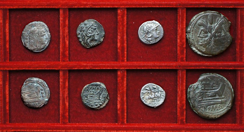 RRC 196R Star quadrans (not RRC 113), RRC 196 unofficial Star quadrans, RRC 198 Dioscuri denarius, RRC 197-198B, As McCabe group K2, Ahala collection, coins of the Roman Republic