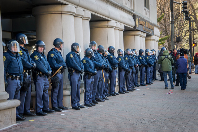 State police line in front of Romney building