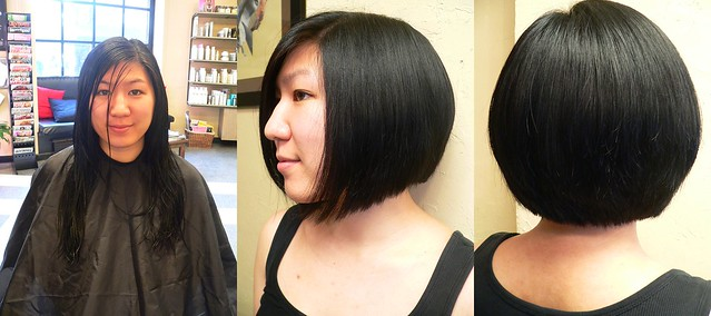 Before and after- Long to short angled bob | Flickr ...