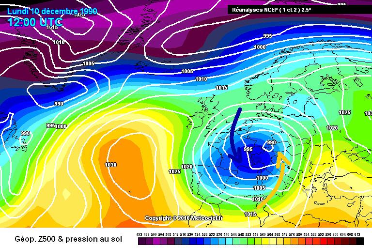carte de situation de l'épisode de neige de décembre 1990 dans le Centre-Est météopassion