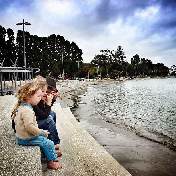 Took the girls to see the king tide this morning. #unschooling
