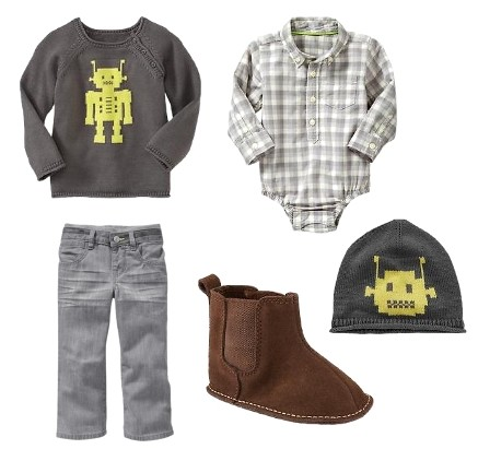 Gray robot sweater with plaid bodysuit for infant boys