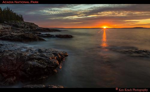 ocean water sunrise rocks maine atlanticocean acadia acadianationalpark