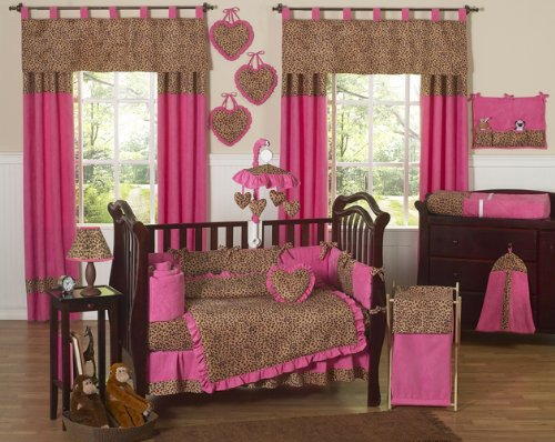 Cheetah Animal print Pink and Brown Baby Girl Bedding
