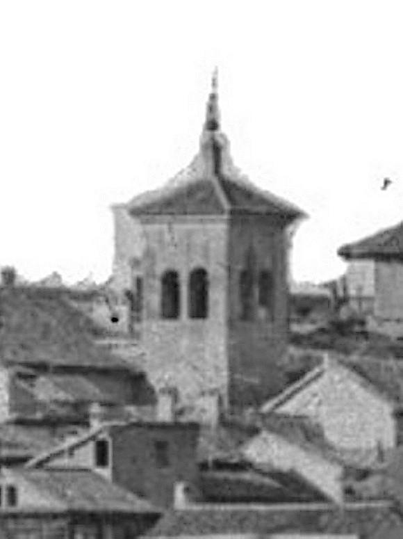 Torre desaparecida de la Iglesia de las Santas Justa y Rufina hacia 1870. Detalle de una Fotografía de Jean Laurent © Fototeca del IPCE, Negativo 03007