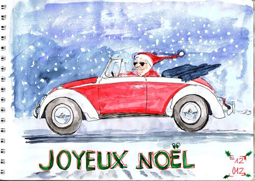 PERE NOEL EN COX DECAPOTABLE Merry Christmas.Feliz Navidad.