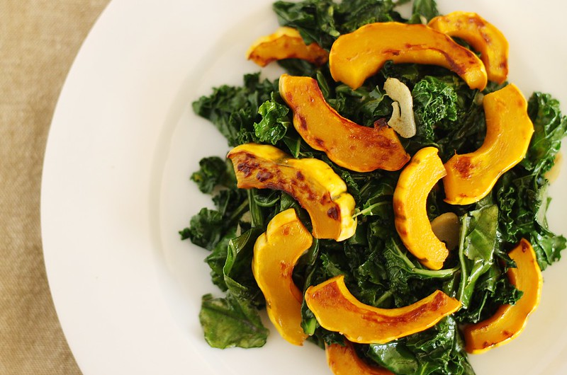 roasted delicata squash with kale