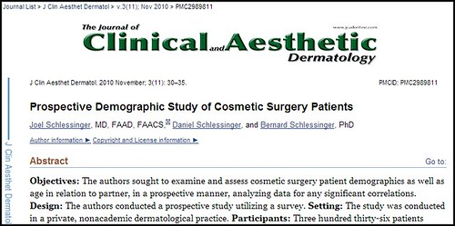 Learn more about thisDr. Joel Schlessinger administers demographic study of cosmetic surgery patients study administered by Dr. Joel Schlessinger here: http://www.joelschlessingermd.com/