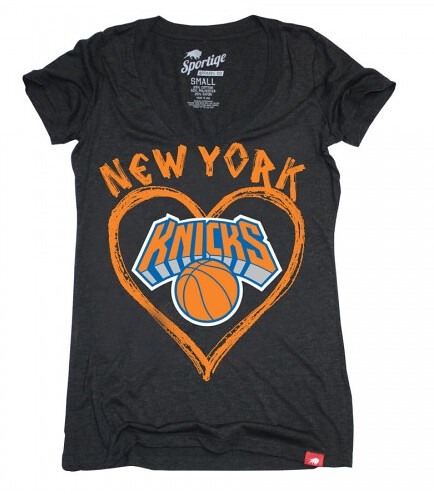 Sportiqe Knicks Womens Je Taime Abyss V-Neck T-Shirt [Black]