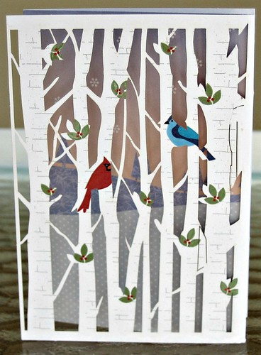 laser cut Christmas card with birch trees and birds