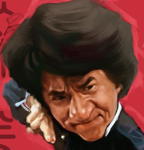 digital caricature sketch of Jackie Chan Drunken Master - 3