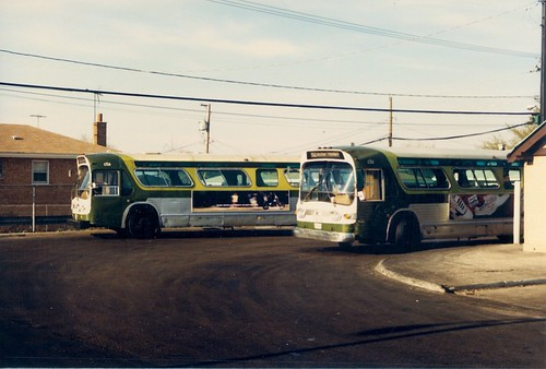 The Chicago Transit Authority bus terminal loop at South Archer and Neva Avenues.  Chicago Illinois.  April 1988. by Eddie from Chicago