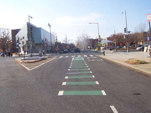 Green painted bike lane on R Street NW