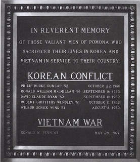 In 1998, a plaque was added to the war memorial in Rains Athletics Center to remember the Pomona graduates who lost their lives in Korea and Vietnam.