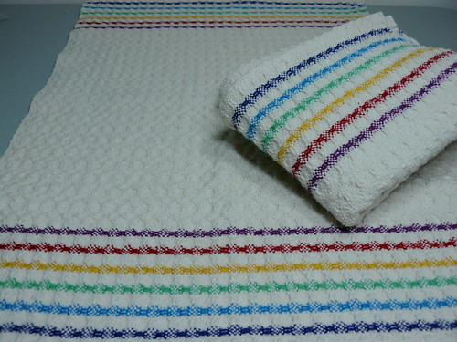 Handwoven Huck Rainbow Stripes Towels